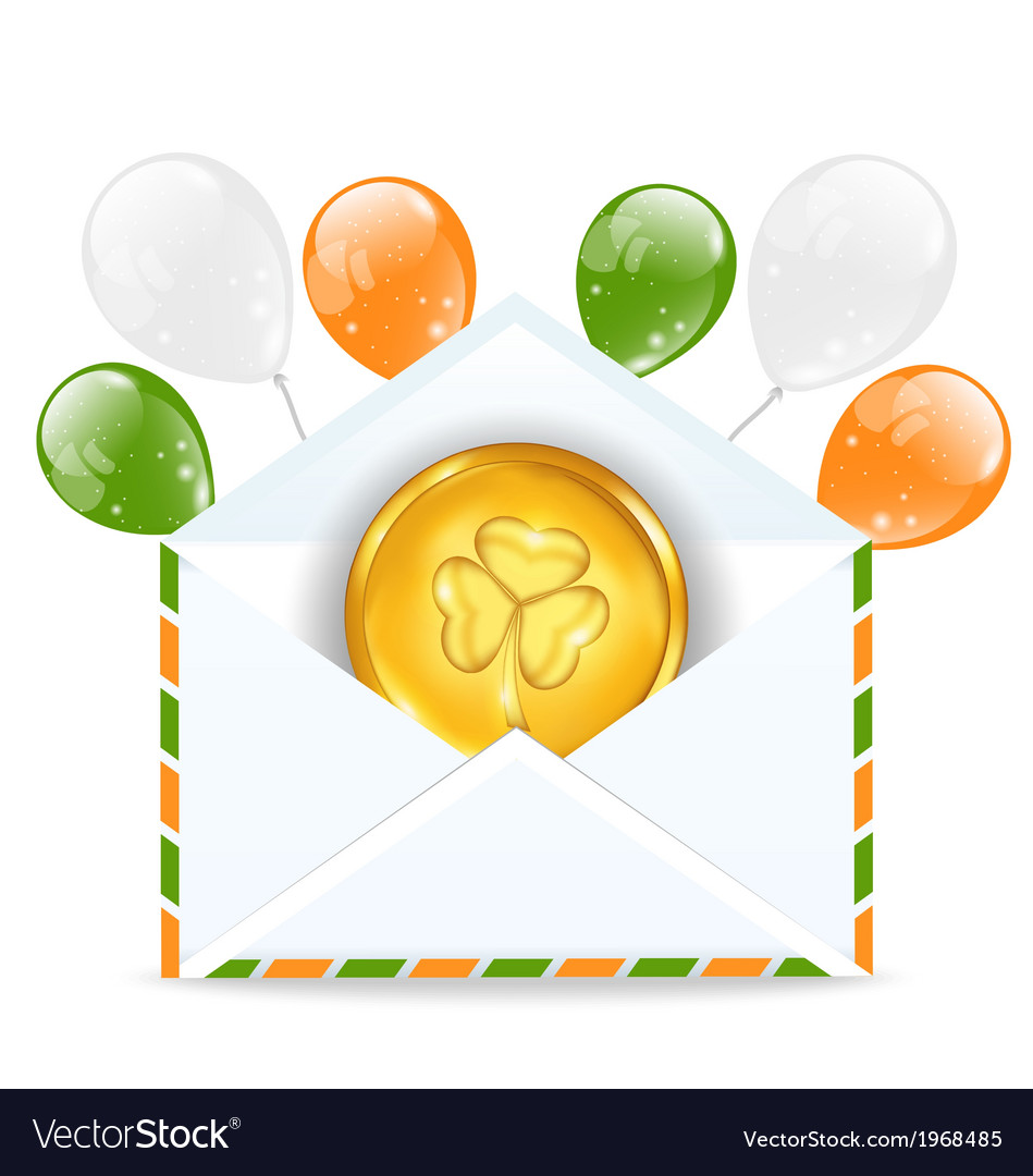 Envelope with golden coin and colorful balloons