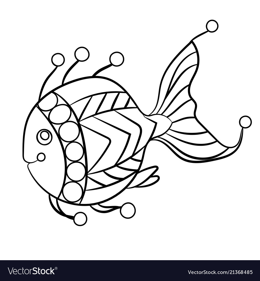 Fish in coloring page for childrean and adults in