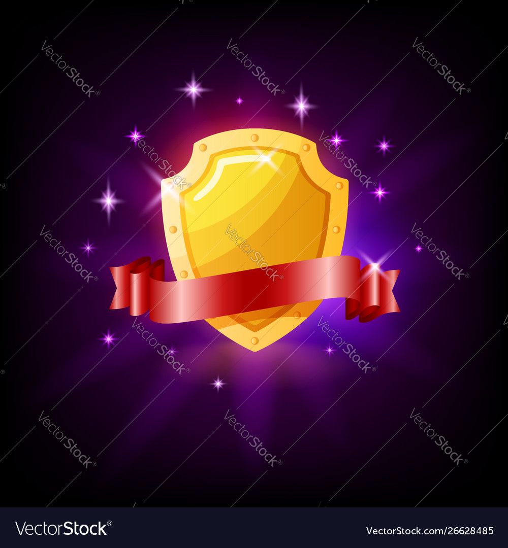 Gold shield and red ribbon slot icon for online