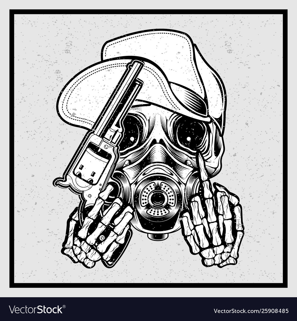 Grunge style skull wearing a hat holding a gun