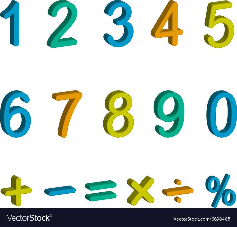 Numbers and maths symbols isolated