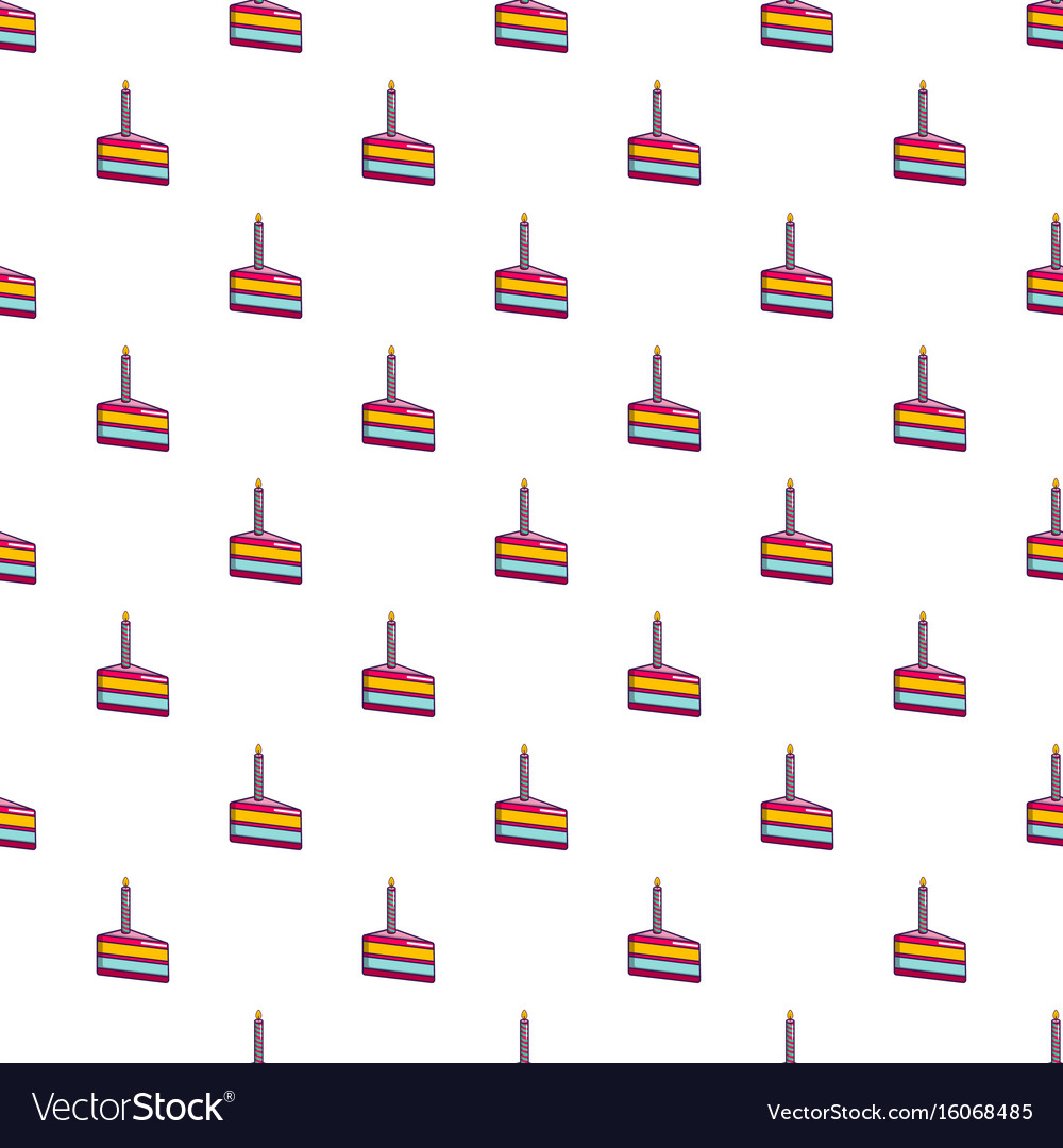 Phenomenal Piece Of Birthday Cake With Candle Pattern Vector Image Personalised Birthday Cards Petedlily Jamesorg