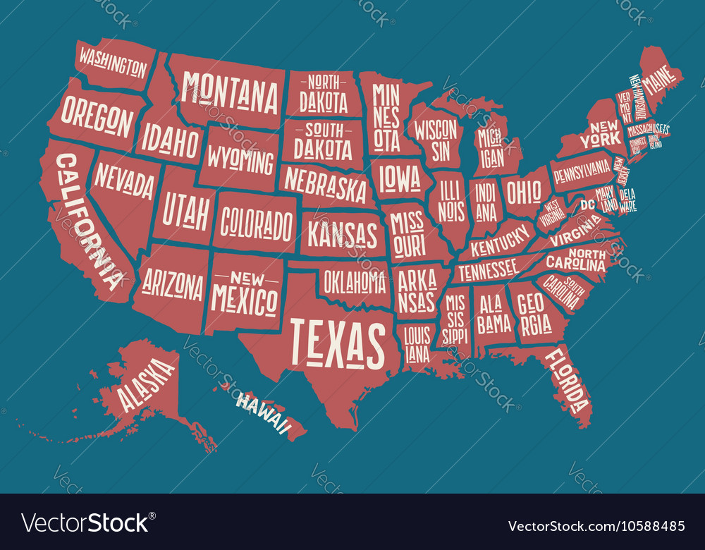United State Of America Map.Poster Map United States Of America With State Vector Image