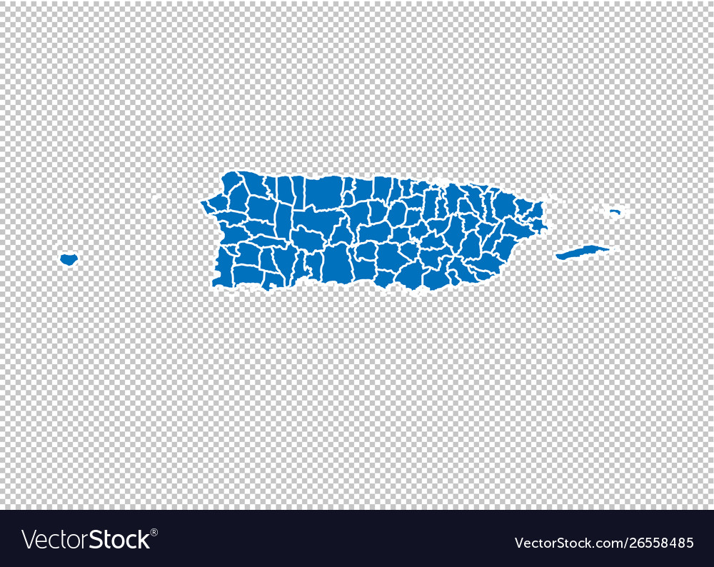 Puerto rico map - high detailed blue map with