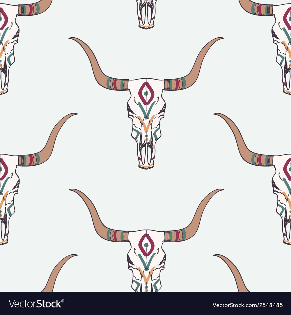 Seamless pattern with bull skull and ethnic