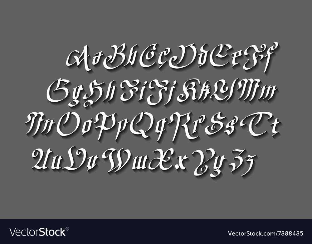Vintage gothic old style typeface on dark vector image