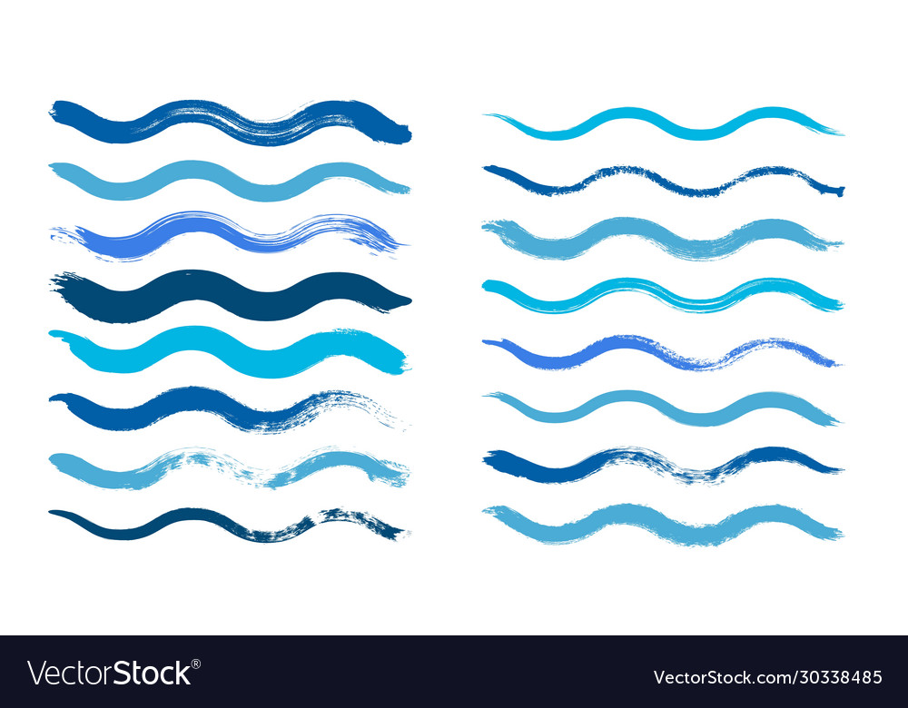 Wave brush cyan water waves isolated dirty