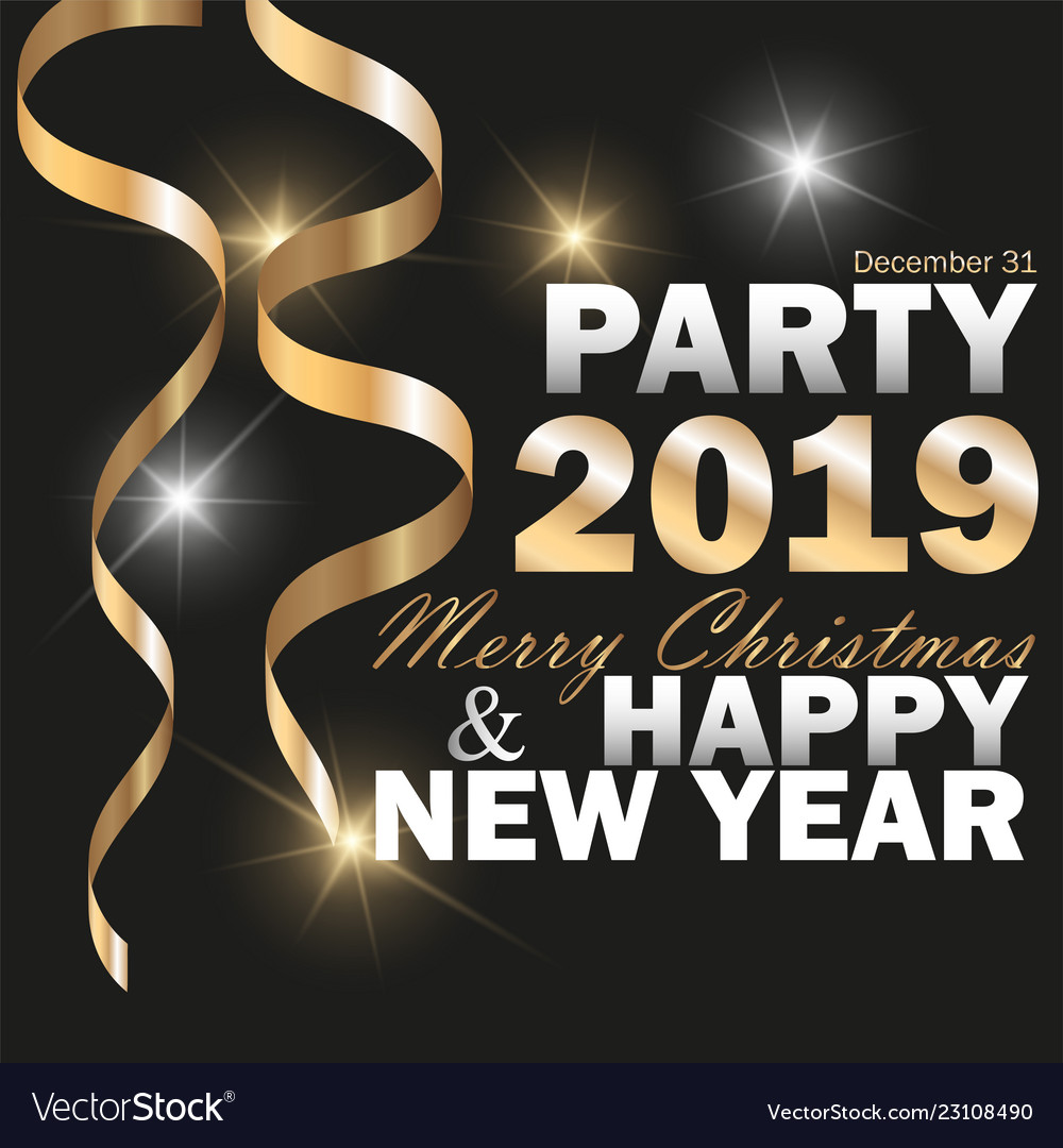 2019 new year black background with gold