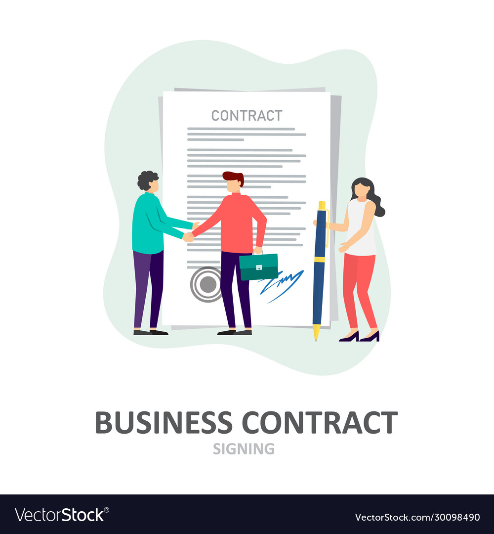 Business contract signing corporate document