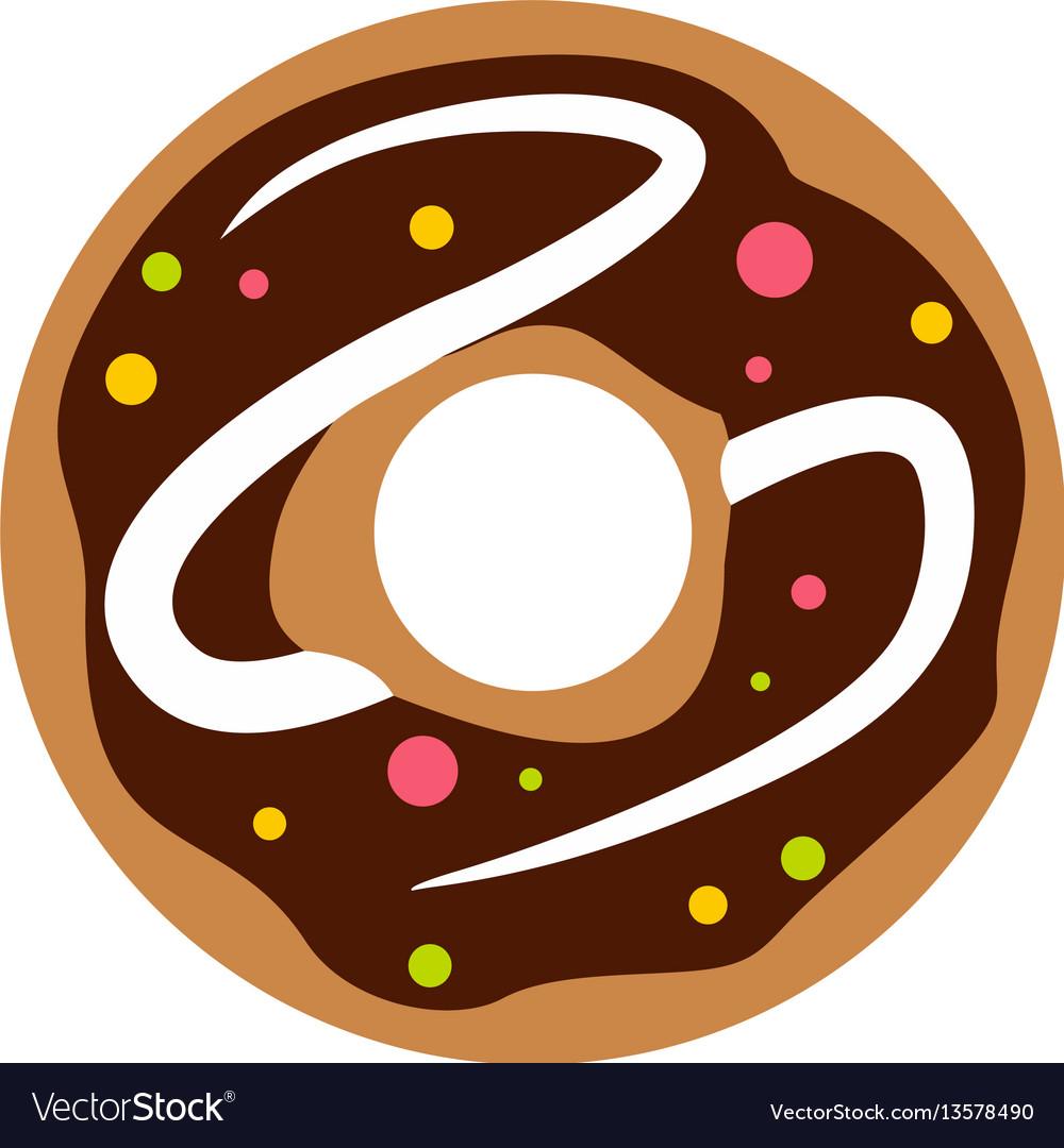 Chocolate donut icon flat style