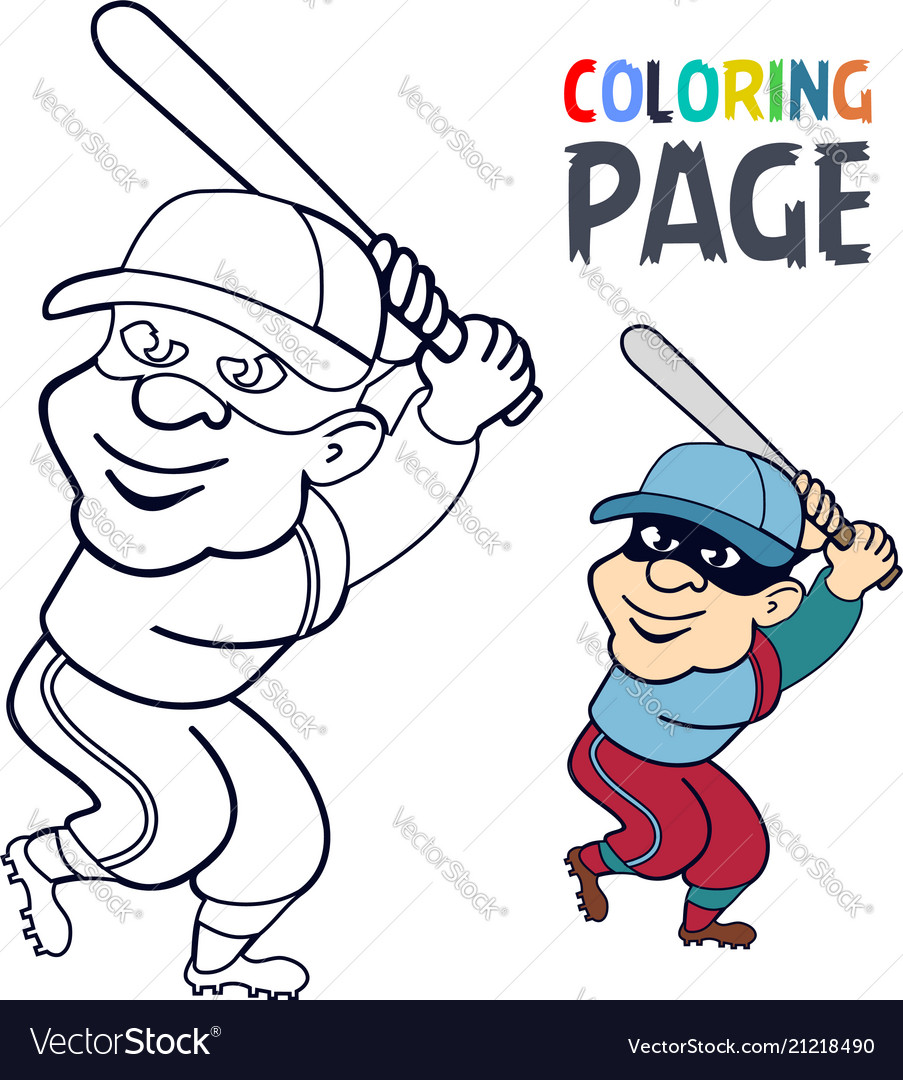 Coloring page with baseball player cartoon