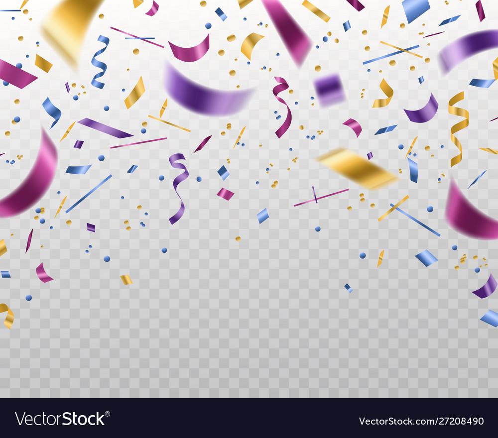 Confetti falling multicolored foil and paper