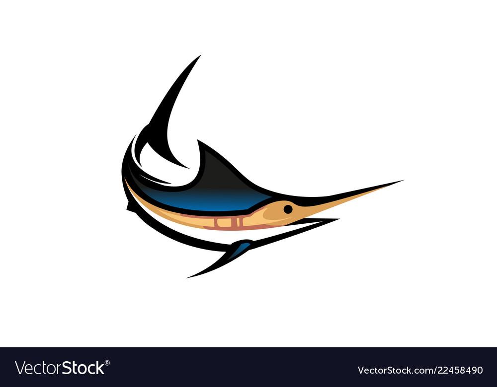 Creative swordfish marlin aquatic animal logo