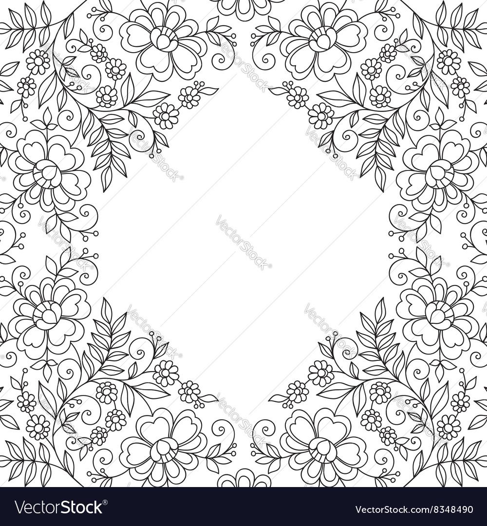 Flower design lace frame vector image
