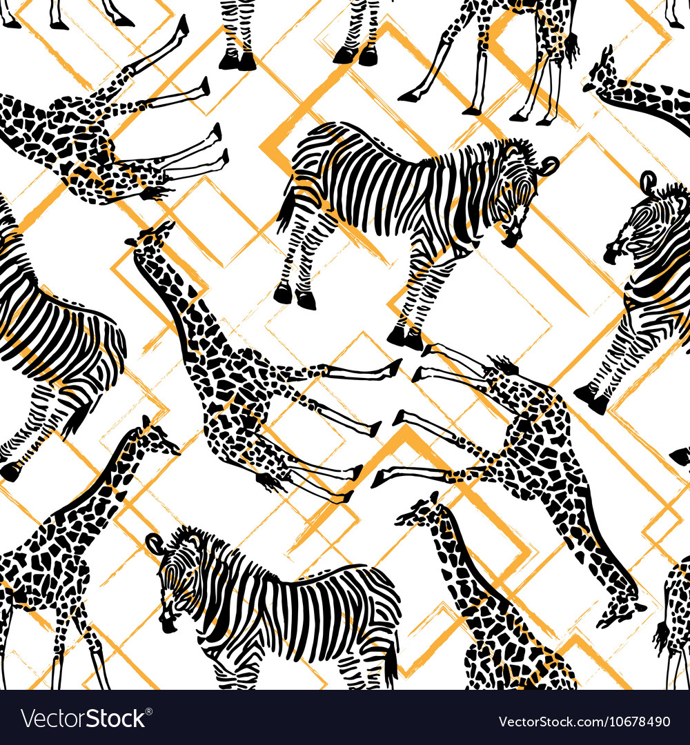 Hand drawn seamless pattern with zebra giraffe on