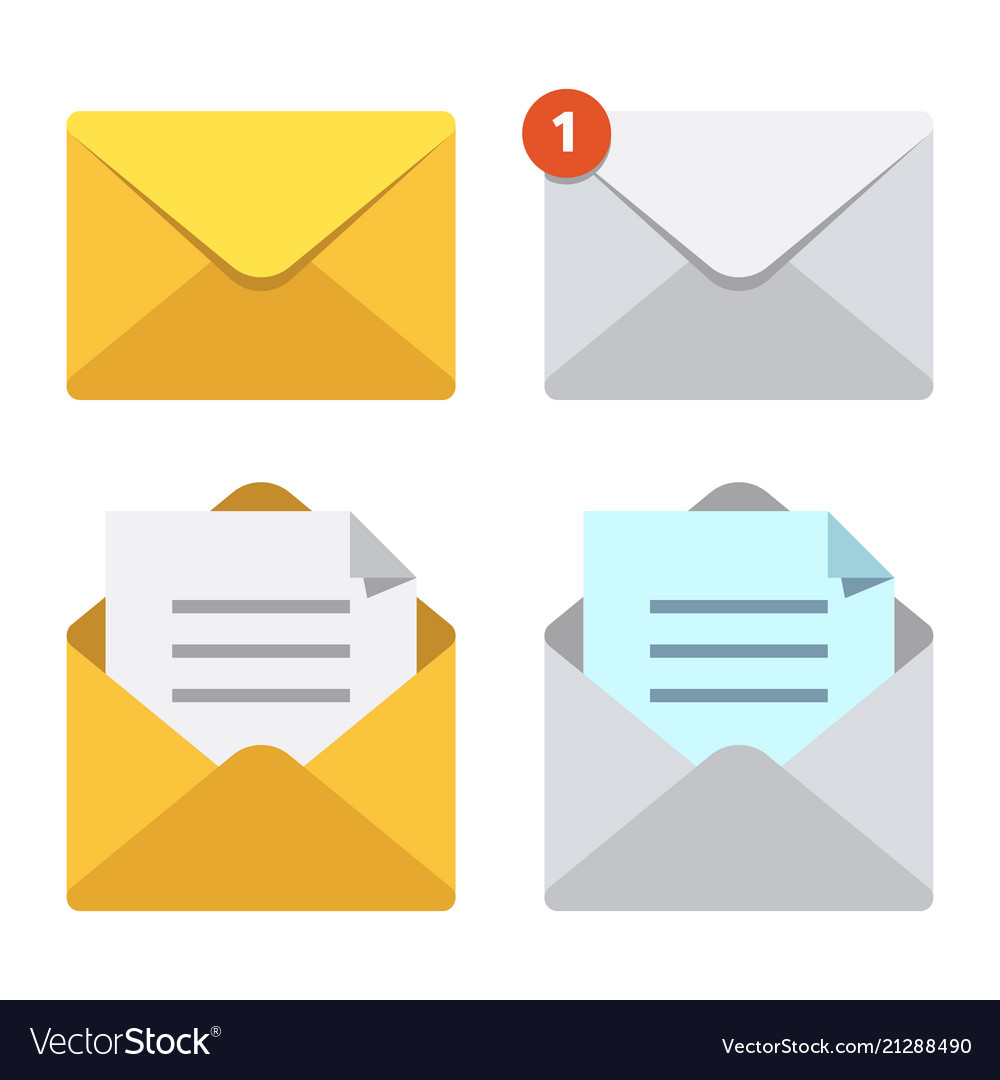 Letter In Mail Envelope Mailbox Notification Or Vector Image