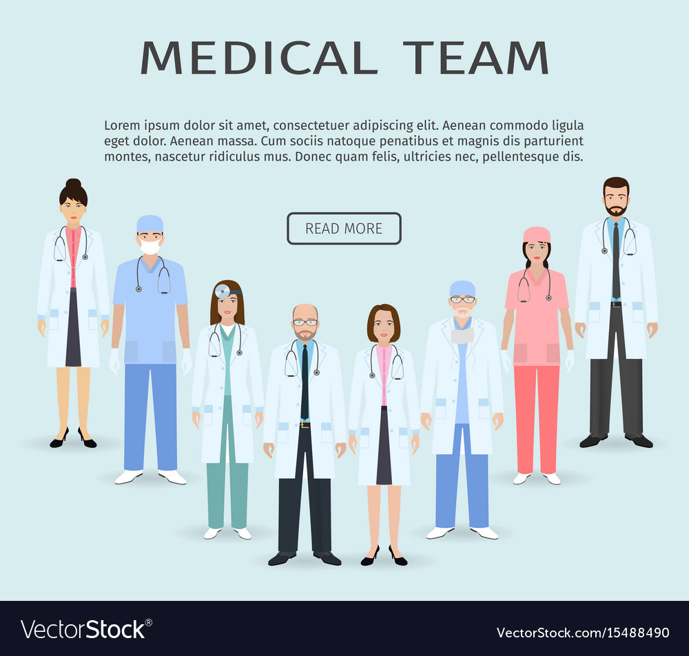 Medical team group of flat men and women doctors