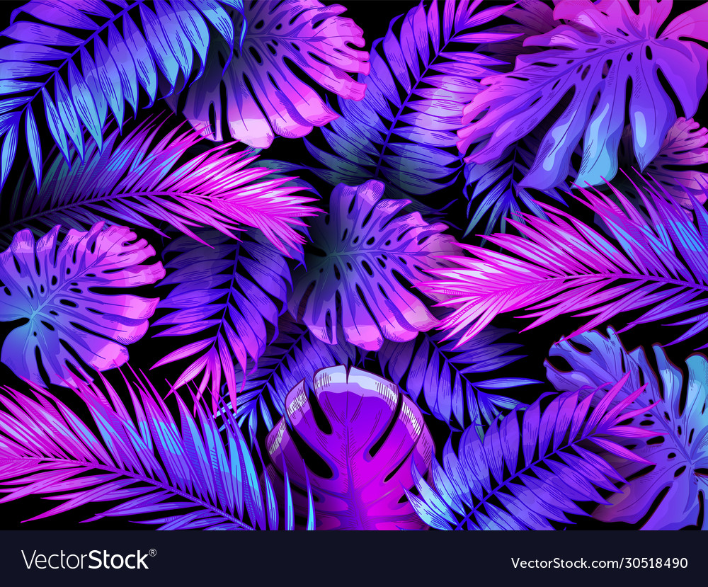 Neon color tropical leaves trendy colorful palm