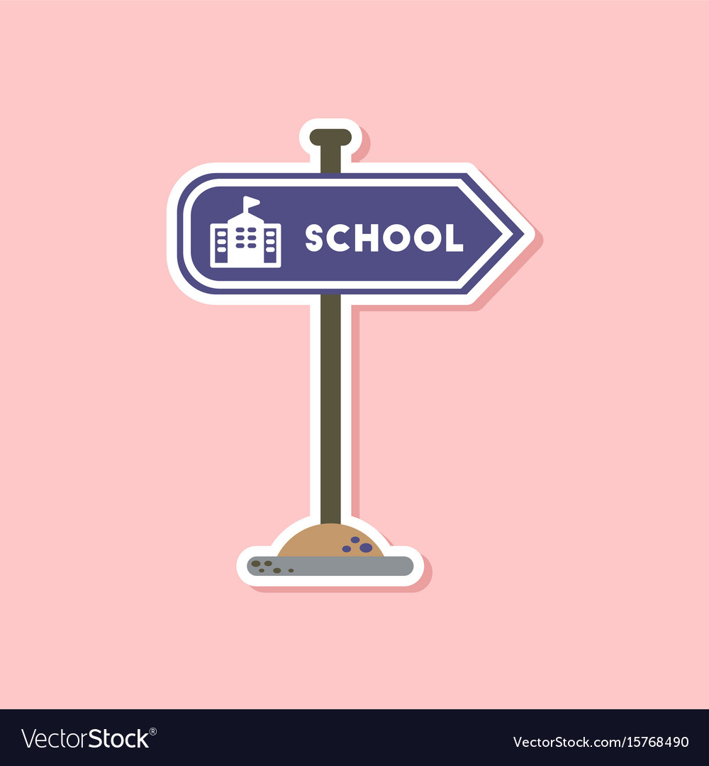 Paper sticker on stylish background school sign