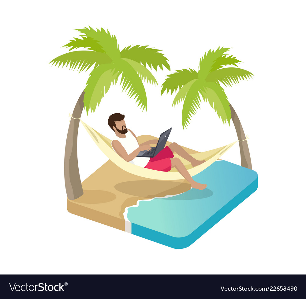 Person working on vacation cartoon icon
