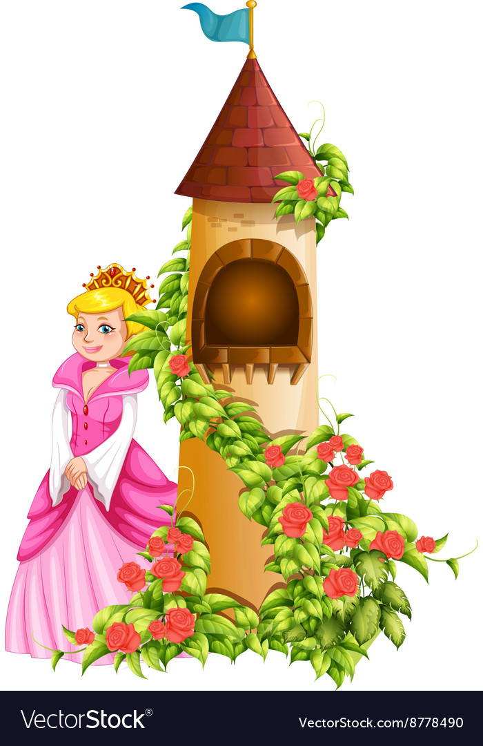 Queen and castle tower vector image