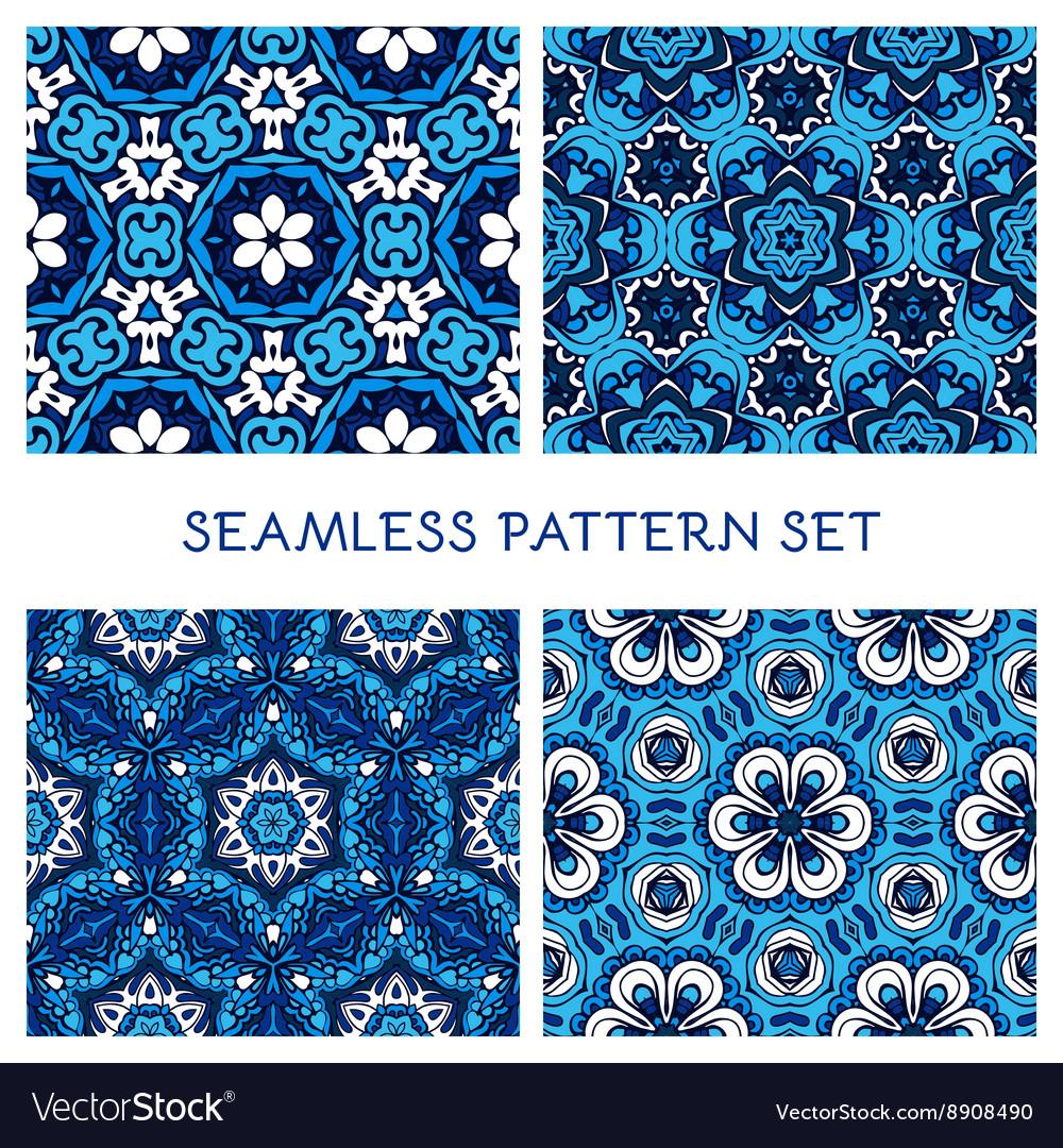 Set of blue winter seamless pattern