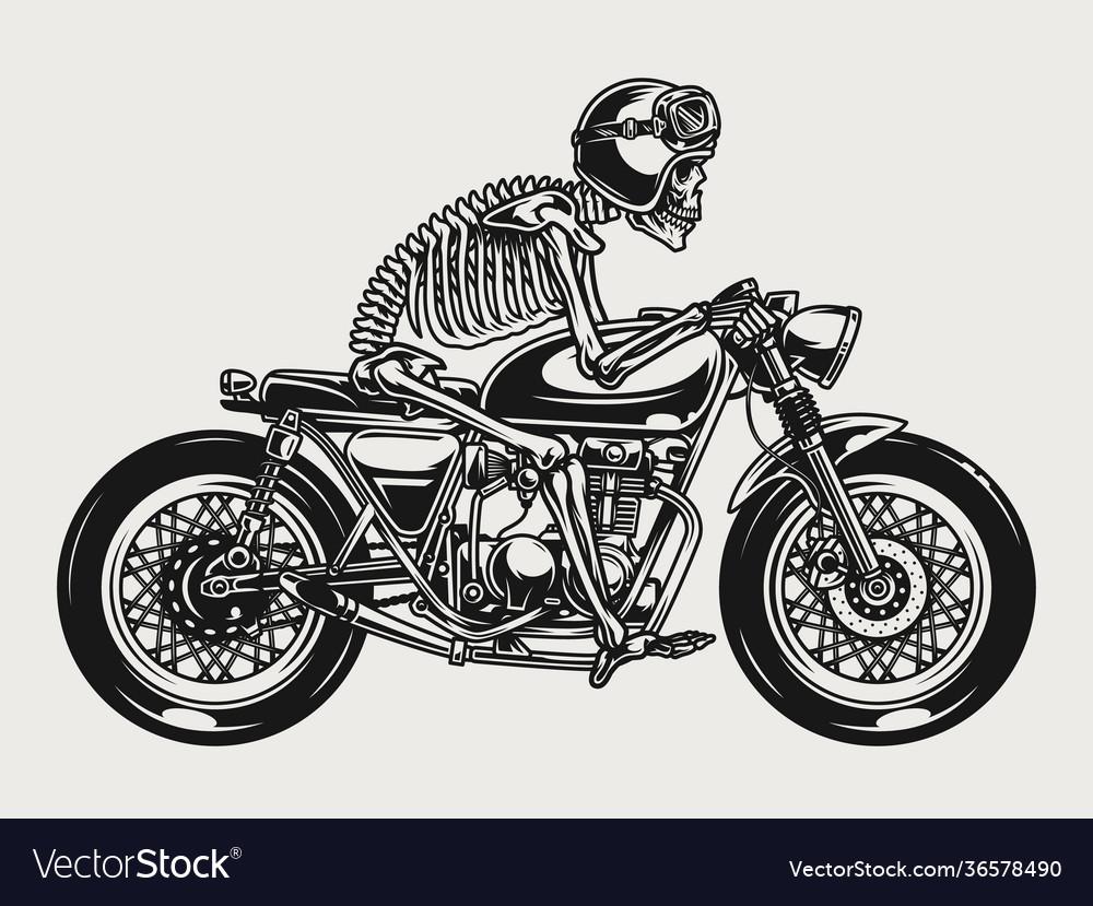 Skeleton racer riding brat style motorcycle