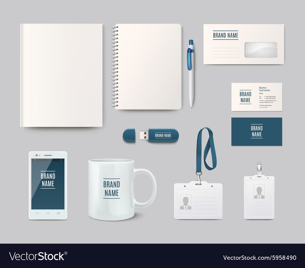 Template objects for corporate identity