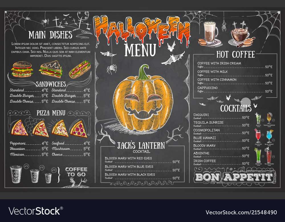 Vintage chalk drawing halloween menu design