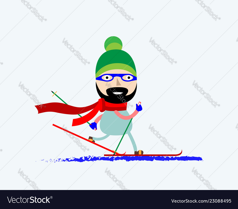 A smiling man skiing skier in