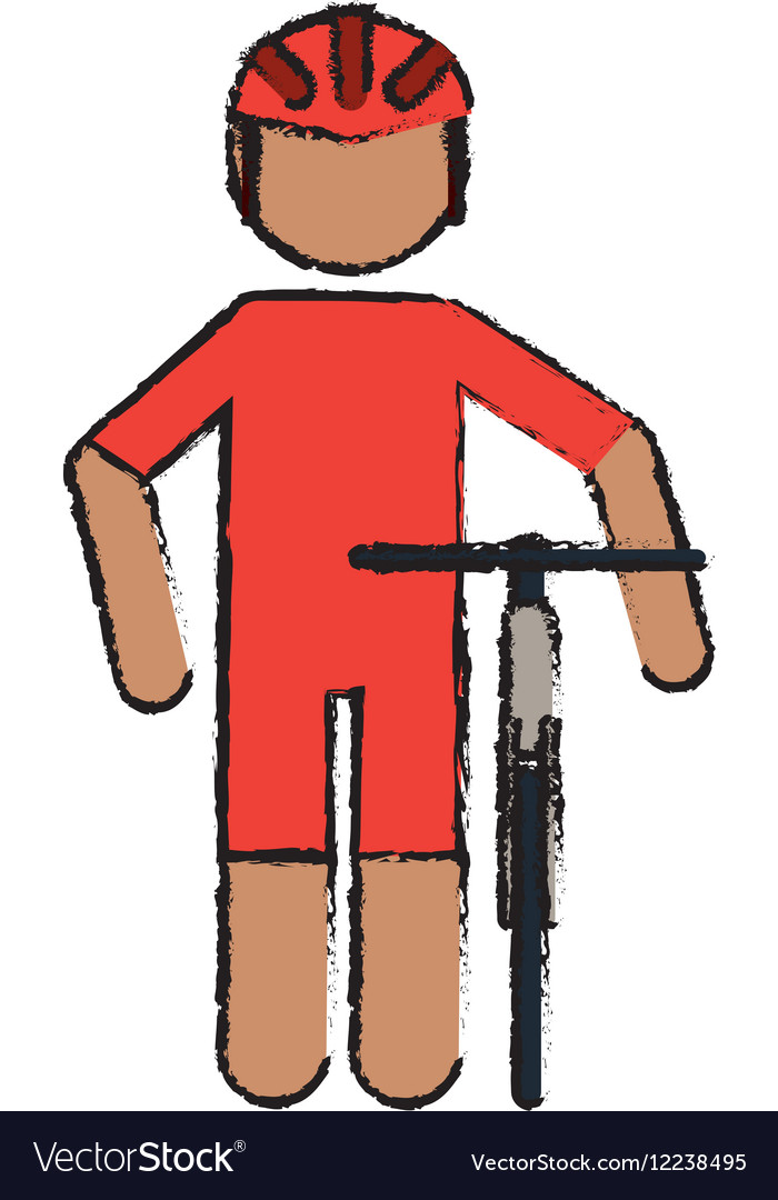 Drawing professional racing cyclist uniform helmet