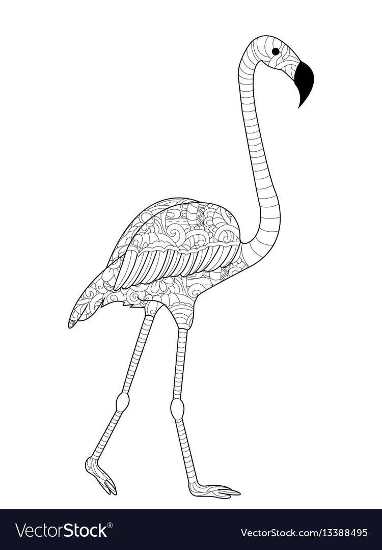 Flamingos coloring for adults