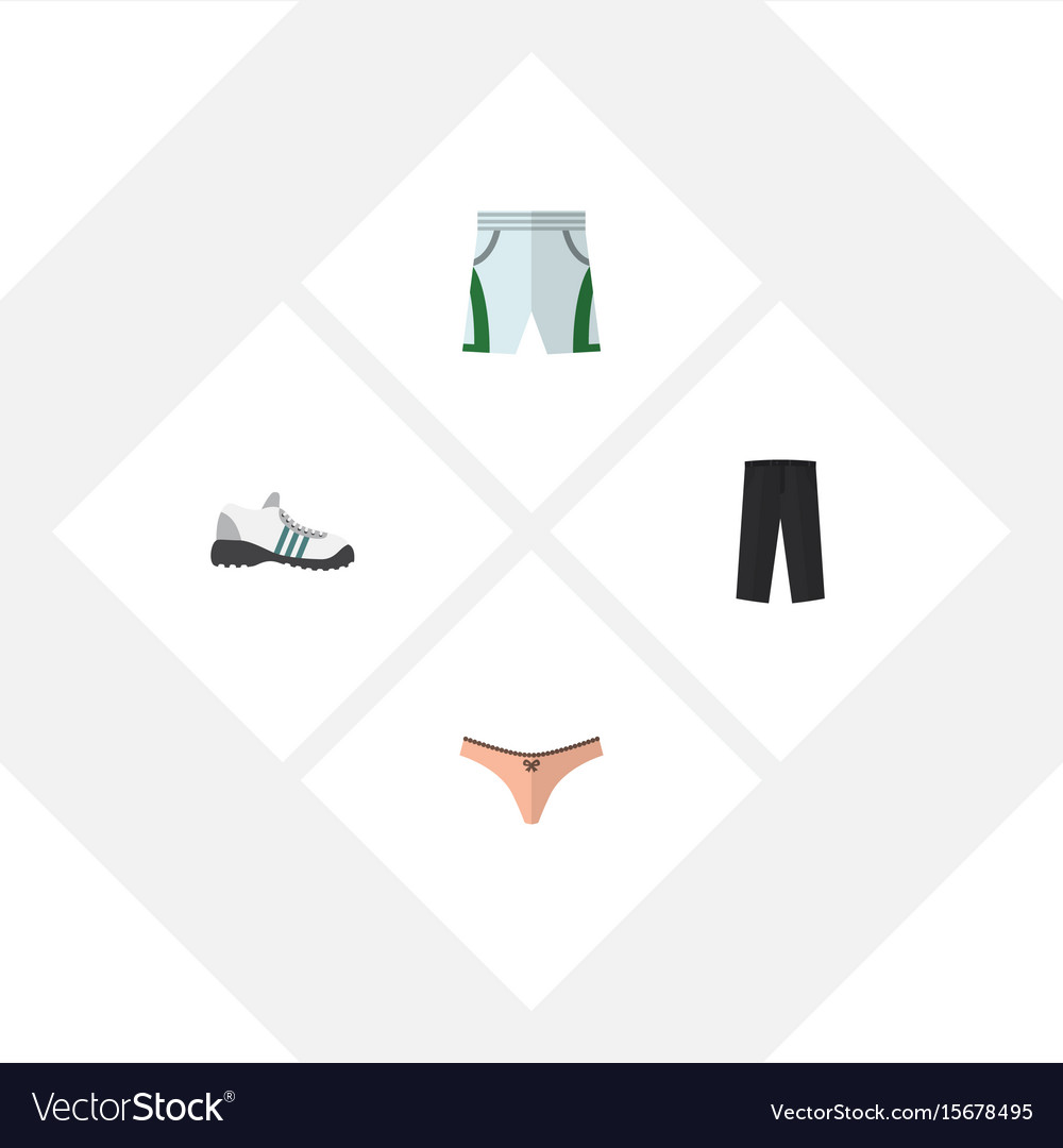 Flat icon clothes set of trunks cloth lingerie