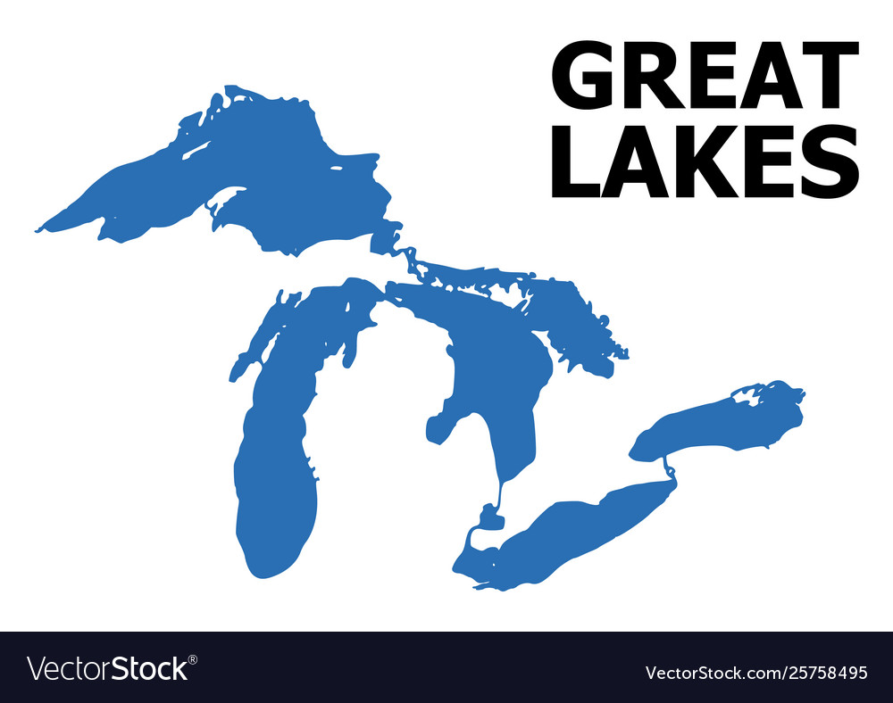 Flat map great lakes with name