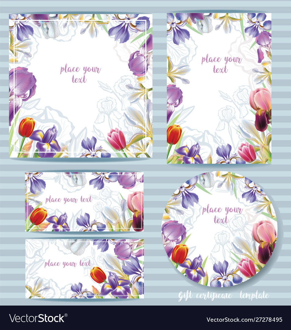 Floral Card Template Design With Irises