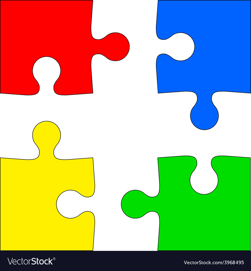 Four colored puzzle pieces on white background Vector Image 372d085cc