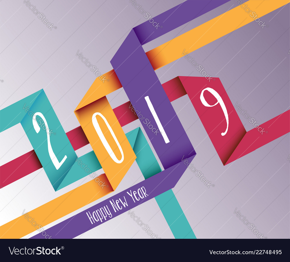 Happy new year 2019 simple origami background