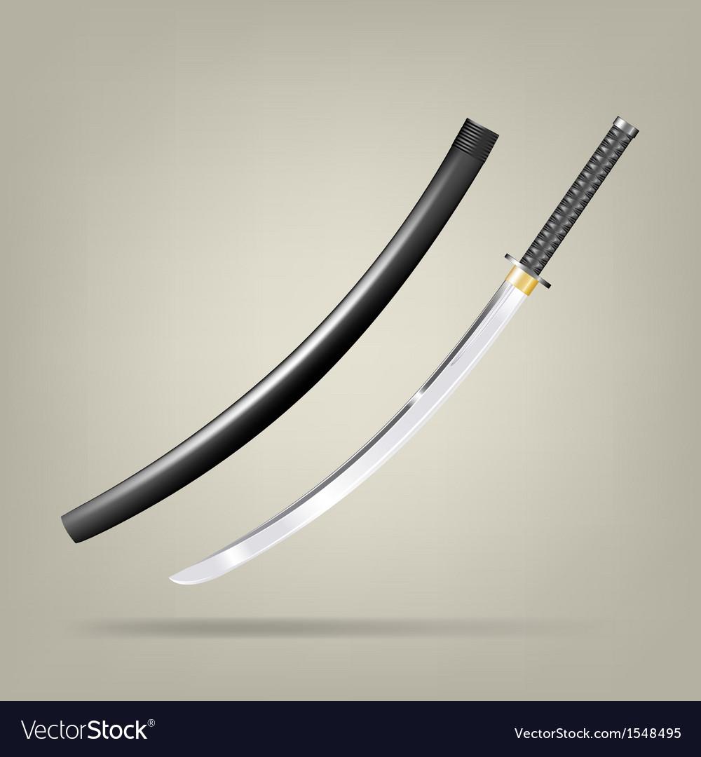 Japanese sword vector image