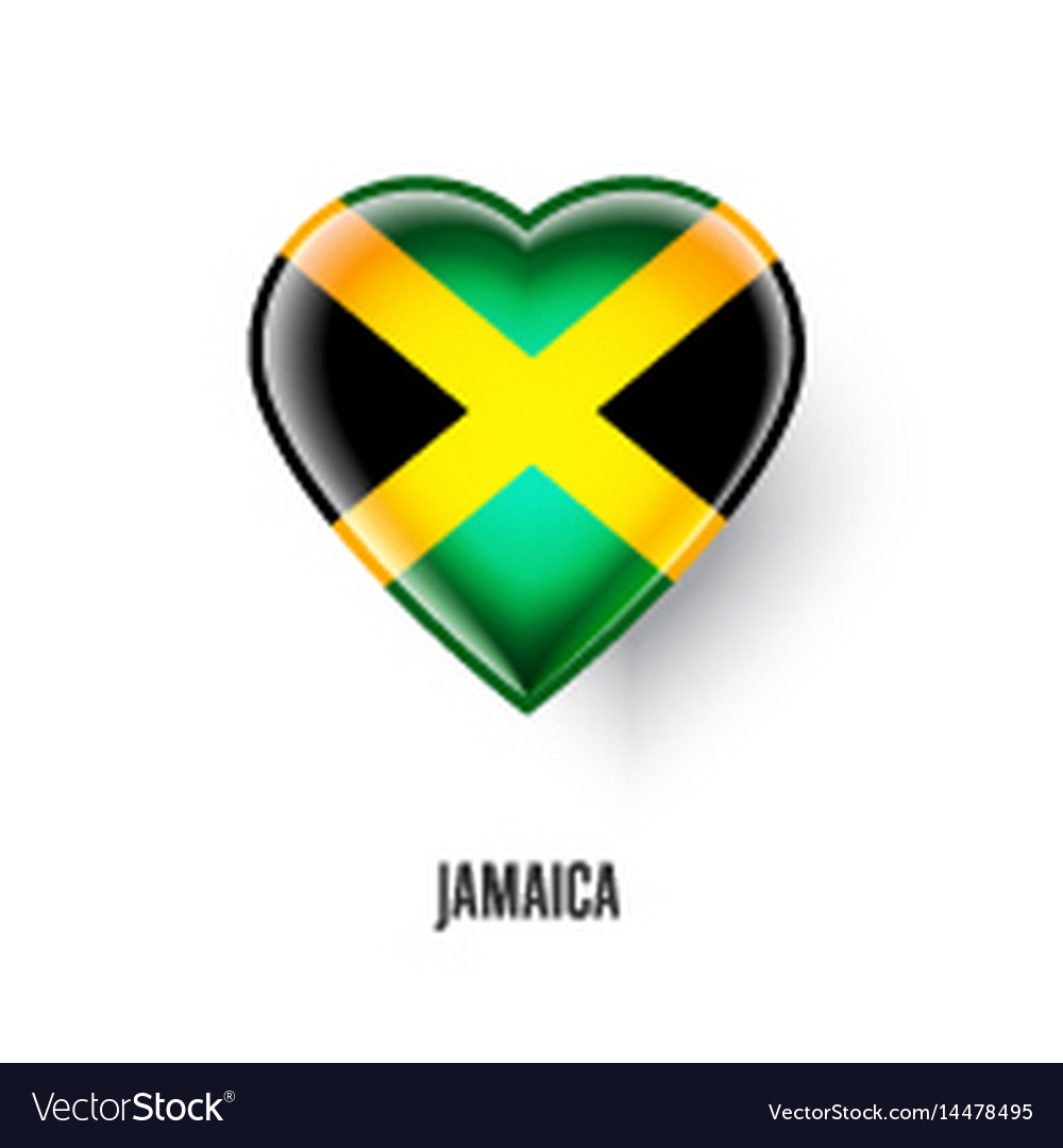 Patriotic heart symbol with jamaica flag vector image