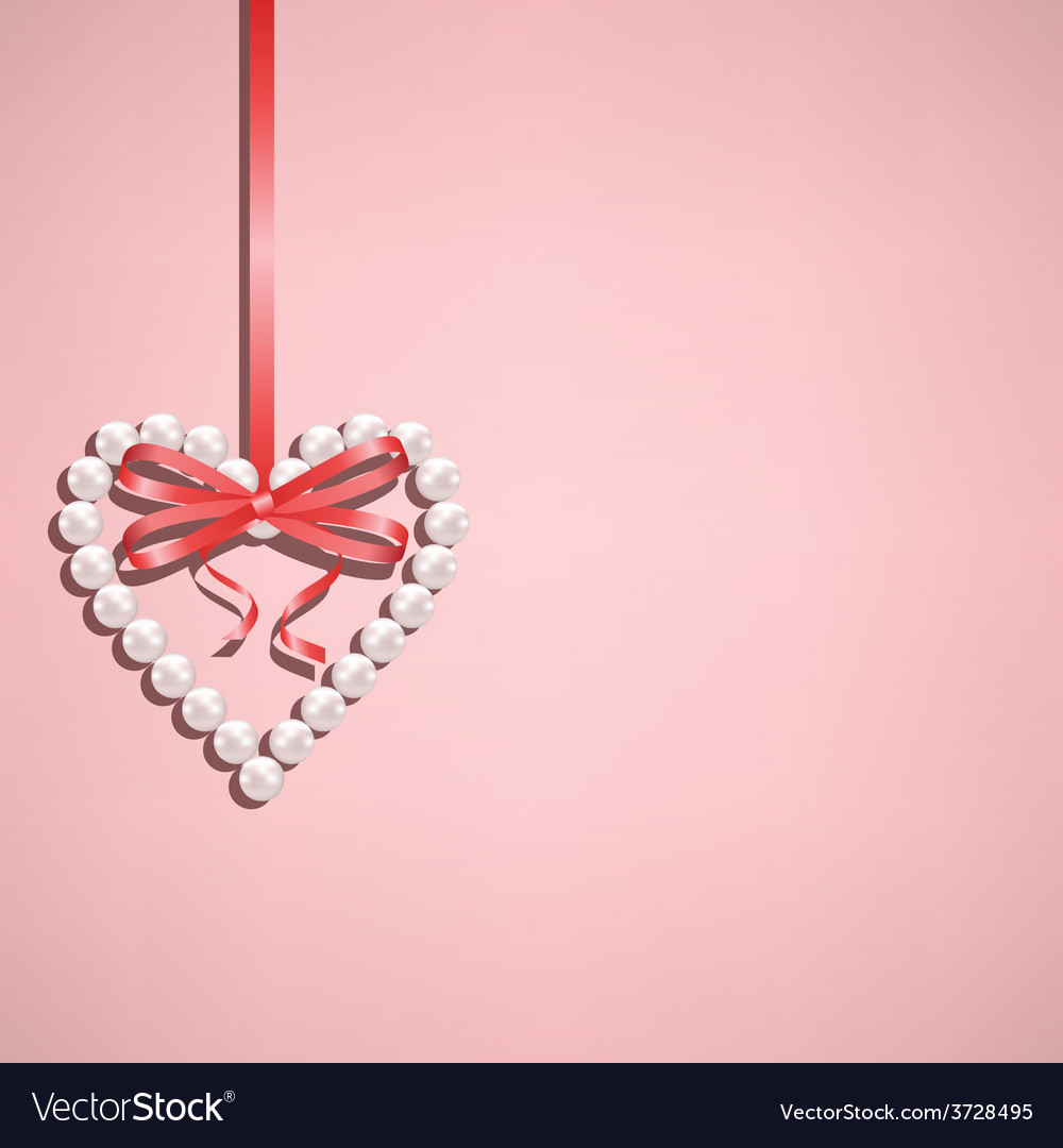 Pearl heart with bow vector image