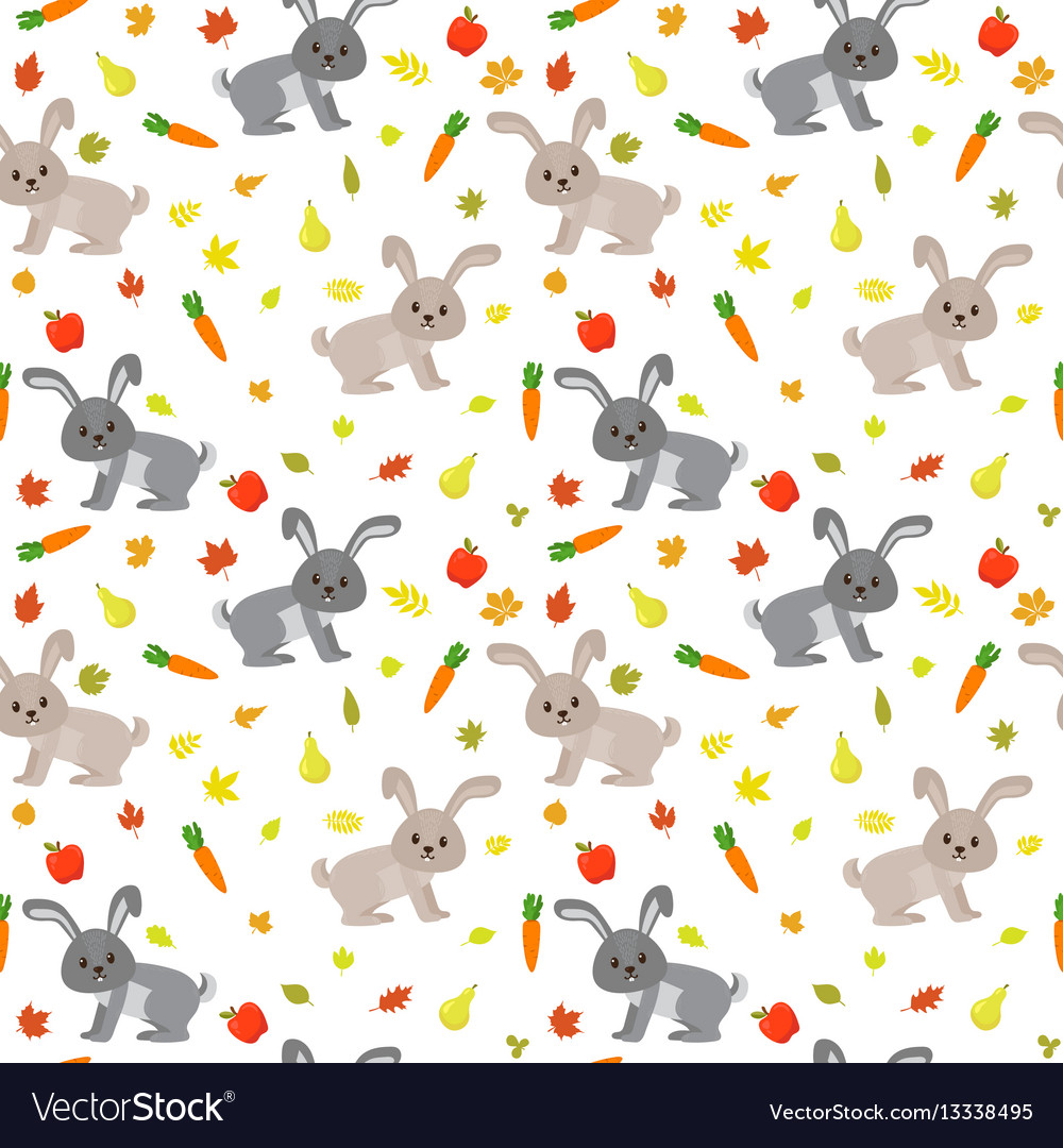 Seamless pattern with cute rabbits carrots