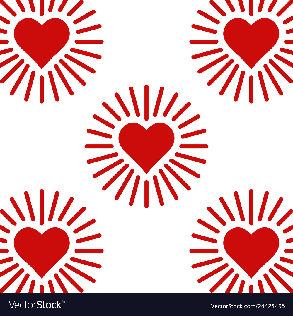 Set icons shining heart heart with rays of love