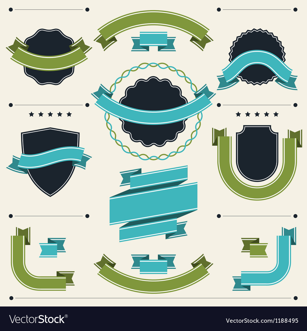 Set of retro badges labels ribbons and design