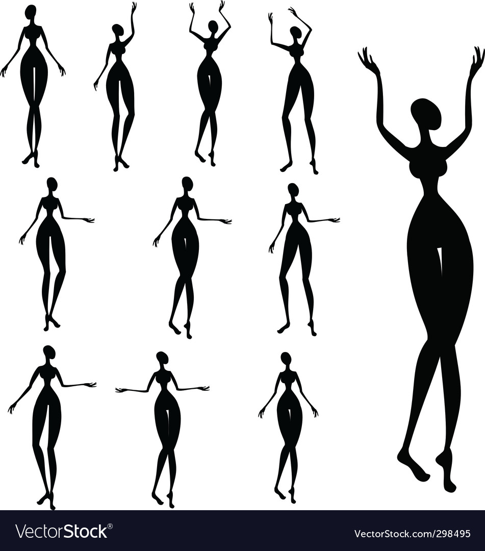 Silhouettes of african women vector