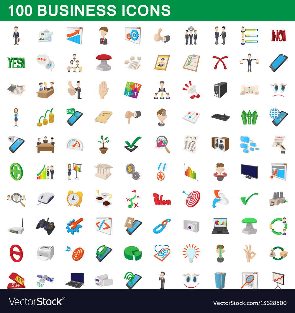 100 business icons set cartoon style