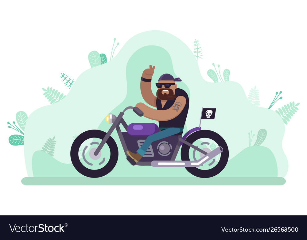 Biker man riding bike character on motorcycle