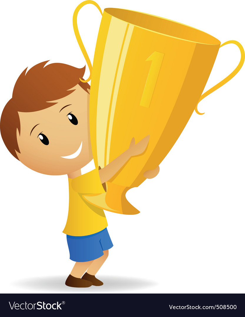 Cartoon young winner with golden trophy cup