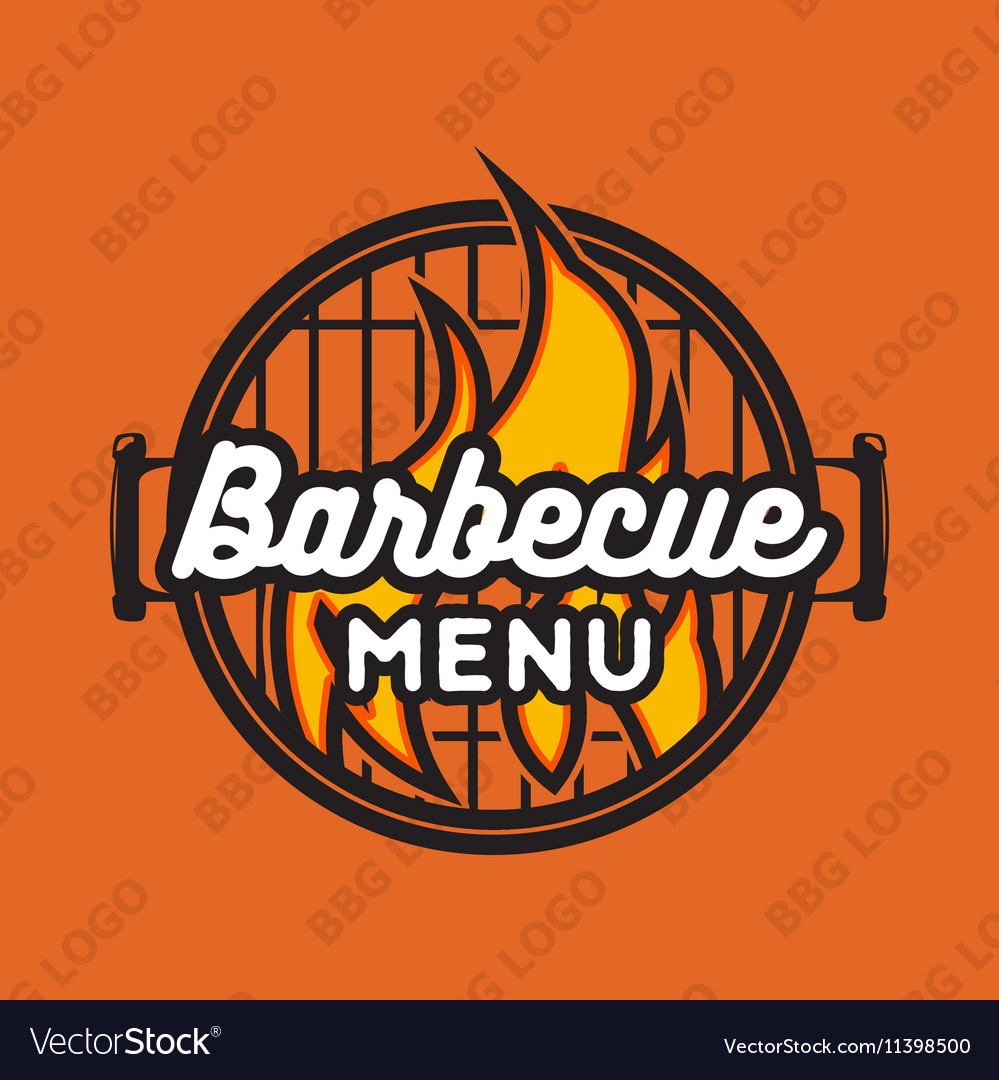 Creative logo design with bbq grill and flame