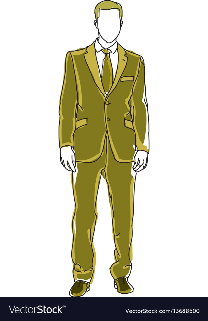 Drawn man in green suit