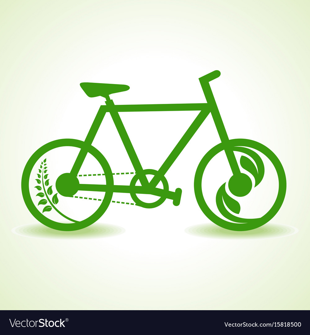 Eco bicycle with green leaf stock vector image